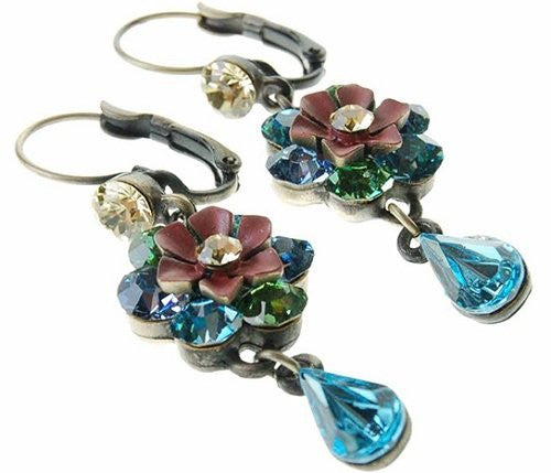 Flower Pear Drop Swarovski Crystal Elements Drop Earrings. 2 Stunning Colour Combinations, Amethyst Purple & Sapphire Blue. Beautiful Gift Idea for Christmas, Limited Edition, Designer Styling.