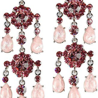 Large Bold & Long Chandelier Swarovski Crystal Earrings. Dramatic Symmetrical Style with Marbled Pear Drops & Large Cut Crystals. 2 Stunning Colour Combination. Great Christmas Gift