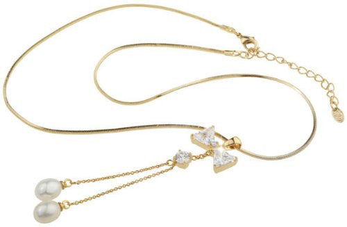 Swarovski Jewelry; Crystals and Pearls Pendant Costume Jewelry Necklace, Superb Crystal Bow Pendant with hanging Pearls on a 14K Gold Plated Chain. Matching Bow design Costume Jewellery Crystal Earrings