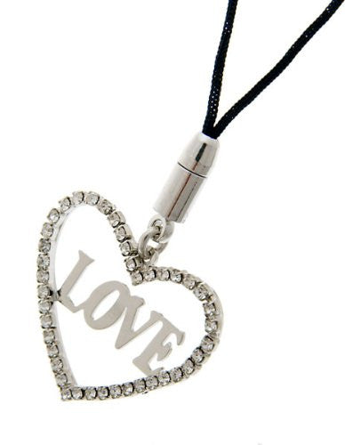Now £8.99, Great Christmas or Budget Gift Idea. Love Hearts Mobile Phone & Bag Charm, Clear Diamond Swarovski Crystals on Silver Rhodium or 14K Gold Plating on a Black Cord.