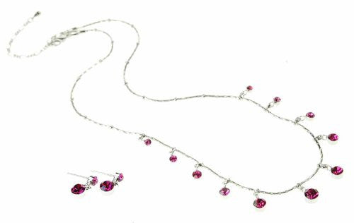 Swarovski Crystal Jewelry Set; Contemporary Jewelry with total simplicity. Crystal Necklace and Earrings in Fuchsia Pink Swarovski Crystals on a Rhodium Plating Setting.