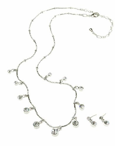 Swarovski Crystal Jewelry Set; Contemporary Jewelry with total simplicity. Crystal Necklace and Earrings set on a Rhodium Plating Setting.