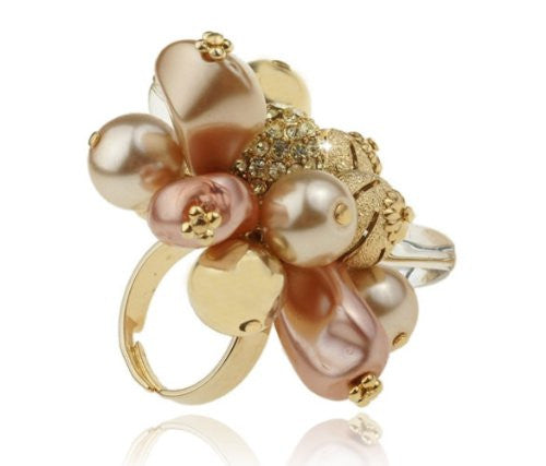 Large Cocktail Ring;Swarovski Crystal Rings, Flower Cocktail ring, Crystal Beads and a 14K gold plated ball with Swarovski crystals imbedded.