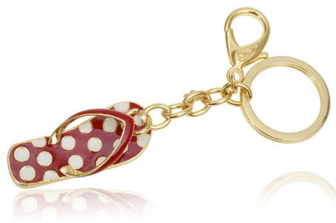Costume Jewelry Key Ring and Bag Charm, Gold Charms Key ring. Flip Flop Charm in Red, Ivory Polka Dots and 14K Gold plating Exclusive limited edition to Janoejewels, charms jewellery.