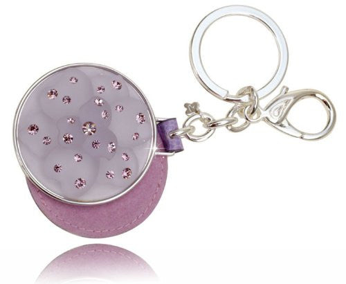 Swarovski Charms Jewellery; Cosmetic Mirror Charm Jewelry Key Ring, Solid Dial with a Lotus Design, Amethyst Swarovski crystals jewellery on a rhodium plating finish, exclusive to janoejewels.