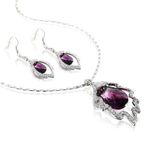 Contemporary Swarovski Elements Crystal Pendant Necklace & Earrings Set. Single 20mm Swarovski Cut Crystal Suspended within a Leaf, Studded with Clear Crystals. Stunning Gift for Her