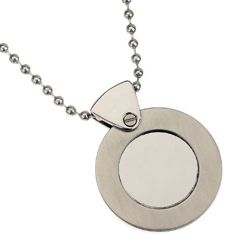Men's Solid Disc Pendant jewellery in Pure Stainless Steel. Beautiful Solid Pendant with inner circle part in gloss mirror steel! Flip is Plain to engrave on if you wish. Solid stainless steel ball chain to match.