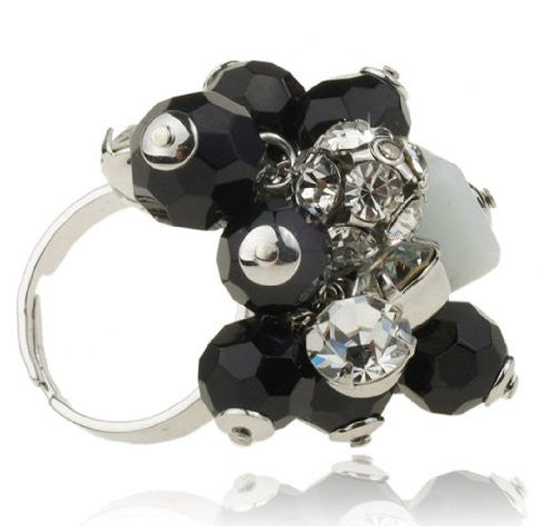 Swarovski Crystal Rings, Contemporary Costume Jewelry Cocktail Rings, Big Cocktail Rings, Black Beads and Clear Crystals, Rhodium Setting. Rings One Size