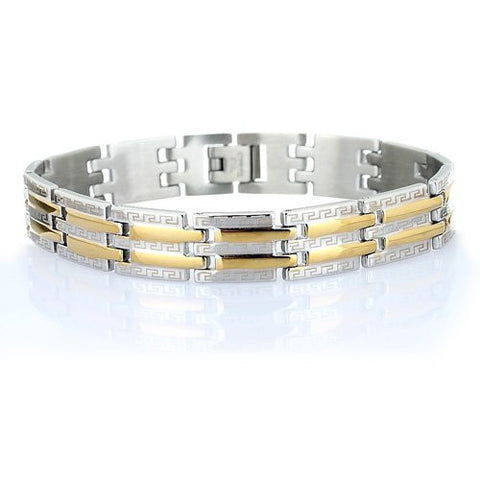 mens-greek-key-designer-silver-and-gold-stainless-steel-bracelet-stylish-links-with-a-greek-key-pattern-etched-all-over-quality-and-style-under-25-B0073H67G4