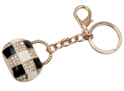 Swarovski Charms Costume Jewelry Key Ring and Bag Charm, 14K Rose Gold plating with Clear Swarovski Crytsals. Exclusive limited edition to Janoejewels, charms jewellery. Great Anniversary Charms Jewelry gift