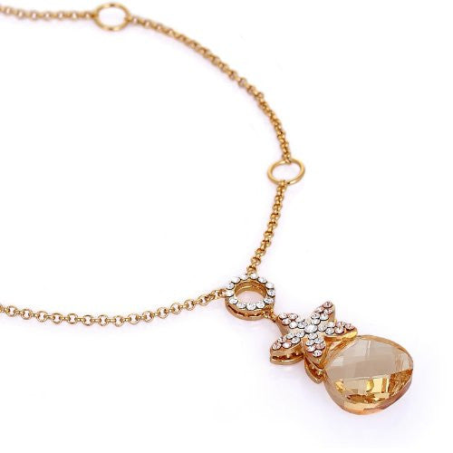 Stunning and Unique Pendant Necklace.Topaz Swarovski Crystal Element Flower Star Charm Detail on 14K Gold Plated Chain. A Beautiful Elegant Christmas Gift or Anniversary Jewellery For Her