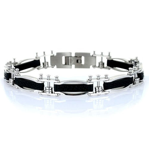 men-s-greek-key-design-designer-stainless-steel-bracelet-stylish-links-with-a-centre-black-etched-plate-trendy-man-christmas-or-birthday-gift-idea-a-B0073H64H6
