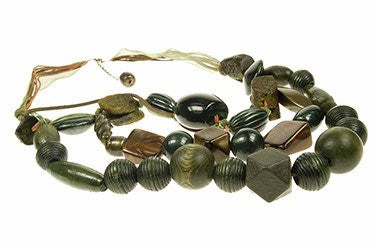 Burgundy,Brown & Olive 3-layer Beaded Style Necklace,Fashion Jewelry under £5