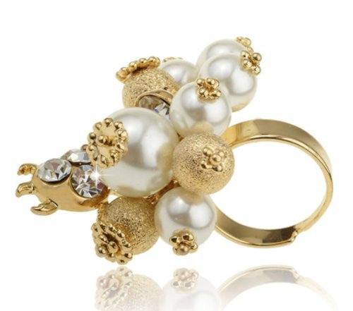 Funky Cocktail Ring, Bling Bling Ring, Swarovski Crystal Rings, costume jewelry ring, Gold Beads Pearls and Swarovski Crystals Cluster, 14K Gold plating