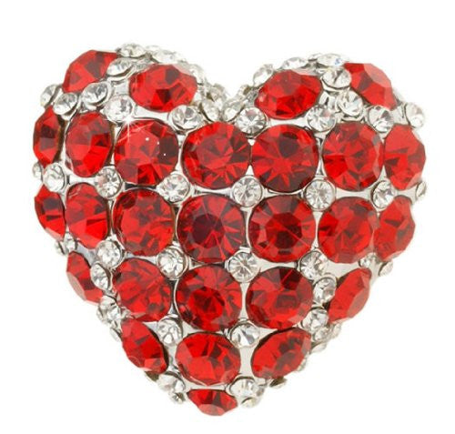 Vintage Cocktail Ring, Heart Cocktail Ring, Costume Jewelry Rings in Swarovski Crystal, Adjustable rings, Siam Red and Clear Swarovski Crystals ,a perfect Heart Ring.