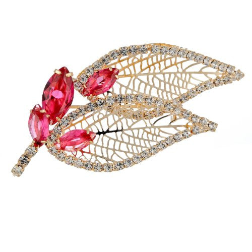 Stylised Leaf and Buds Brooch pin Jewellery on an Exquisite Setting Pear Drop and Round Swarovski Crystals. 5 Superb colour options: Red, Clear Diamond & Emerald Green on 14K Gold,& Clear Diamond and Royal Blue Options on Silver Rhodium, all are Beautiful