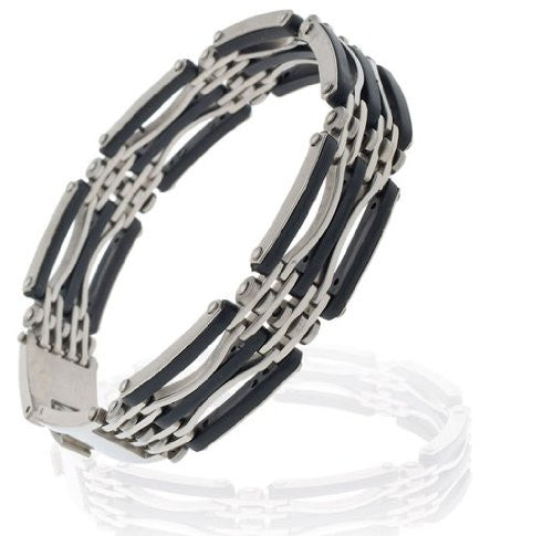 Mens bracelet in stainless steel, trendy mens bracelet, mens jewelry, amazing funky design with solid arc shaped links