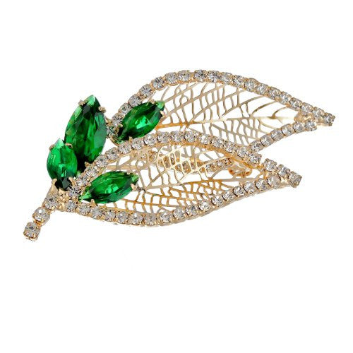 Stylised Leaf and Buds Brooch pin Jewellery on an Exquisite Setting Pear Drop and Round Swarovski Crystals. 5 Superb colour options: Red, Clear Diamond & Emerald Green on 14K Gold, &Clear Diamond and Royal Blue Options on Silver Rhodium, all are Beautiful