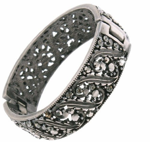 Crystal Bracelet Swarovski; Costume Jewelry Cuf f Bracelets; Pewter plated Cuff with Graphite Swarovski Crystals; Hinged Bangle. Its slick and stylish contemporary jewelry.