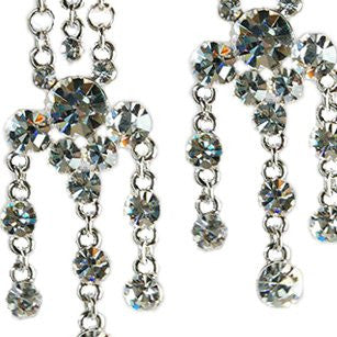 Vintage Swarovski Crystal Earrings Long Chandelier on a Silver Rhodium Frame, in Clear Diamond, Amethyst Purple, Sapphire Blue & Multi Colour Options.