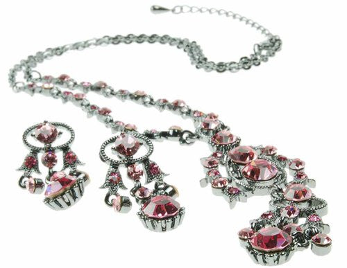 Swarovski Crystal Necklace & Earrings Set with Antique Silver Detail, Beautiful Swarovski Crystals on a Rhodium Plated Setting, Matching Earrings, 2 Colour Options.