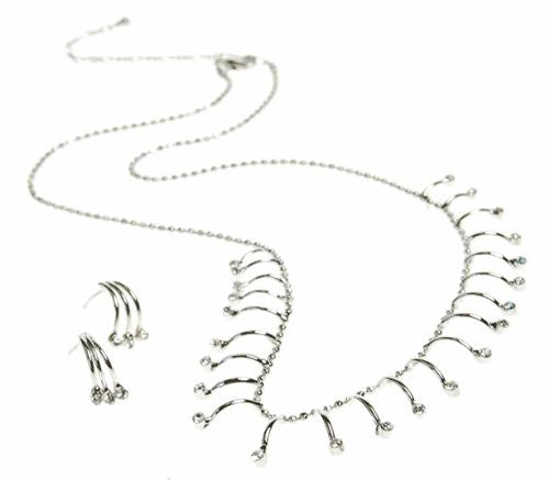 Delicate Contemporary Necklace and Earring Set. Clear Swarovski Crystals on Silver Rhodium Arrangement. Great Price, Safe Christmas Gift Idea for Her. Last Few Remaining