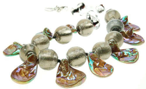 Solid Glass Bead Necklace, Large Round Beads with Shell Like Separators. Beautiful Metallic Colours.