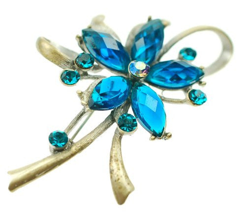 Flower Shaped Jewellery Brooch, Blue Czech Crystal on a Bow Shaped Brass Plated Stem
