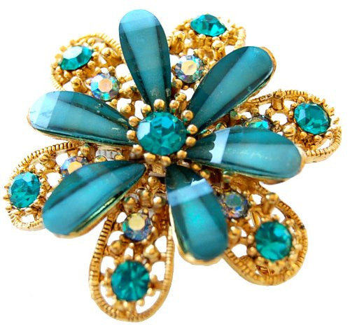 Flower Shaped Jewellery Brooch, Green Czech Crystal and Gems on a Gold Plated Flower