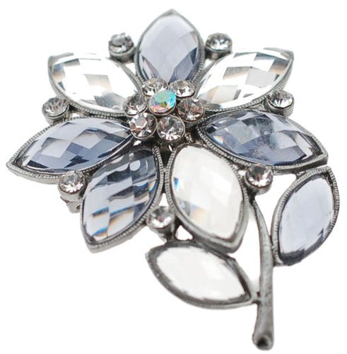 Flower Shaped Jewellery Brooch, Graphite Crystal and Clear Gems on a Plated Flower Setting.