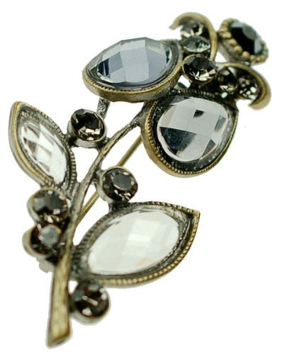 Vintage Flower Stem Jewellery Brooch, Crystal and Gems on a Brass Plated Flower Setting. Great Gift For Any Occasion For Under £11.