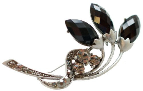 Flower Bud Jewellery Brooch, Crystal and Gems on a Silver Rhodium Plated Stem, Great Gift For Under £9.99