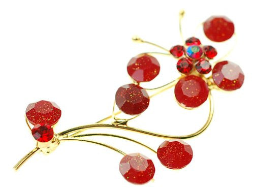 Flower Stem Jewellery Brooch, Crystal and Gems on a Gold Plated Stem. Beautiful Gift For Under £16