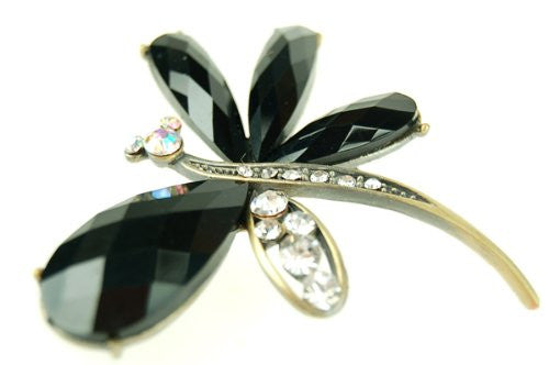 Butterfly Jewellery Brooch, Black Crystal and Gems on a Brass Plated Setting.