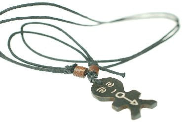 Mens Folk necklace pendant jewellery in brown, mans tribal necklace, Great gift for him under £10