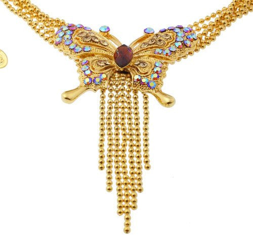 Gold Butterfly Pendant Choker Necklace Jewellery with Gold AB Crystals with a Fine Gold Ball and Drop Chain, 2 Colour Options