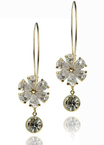 Hoop Earrings w/ Dangling 6 Petal Clover Pattern Flower w/ Pear Shape Swarovski crystals Available in  14K  Gold and Silver Rhodium Plating