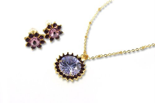 Starburst Necklace & Earrings Jewellery Set in Swarovski Elements & Czech Crystals on a 14k Gold Plated Setting, Stunning & Radiant.Unique Gold Chain w/ Tiny Balls and Links w/ a Stunning Pendant.Great Christmas Gift in Amethyst or Clear Diamond Option.