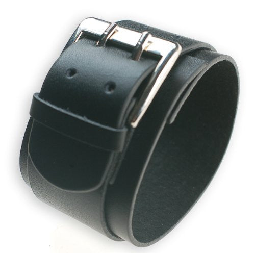 Mens Leather Wide Wristband Cuff Bracelet with Double Pin Buckle in Black and Brown
