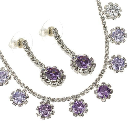 Large Cluster Style Swarovski crystal Earrings. Available in Amethyst, Fuchsia and Topaz on either 14K Gold or Silver Rhodium Plating.