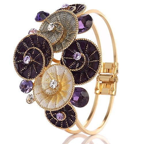 14K Gold Plated Cuff Bangle with Enamel Swirl Flowers and Swarvoski Crystals