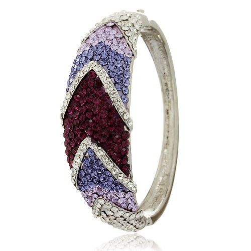 Swarovski Crystal Hinged Bangle Bracelet Studded All OverIn Chevron Pattern. Sparkling and Shimmering Perfect Cocktail Jewellery Attire. 4 Colour Options: Clear Diamond, Amethyst, Topaz and Turquoise