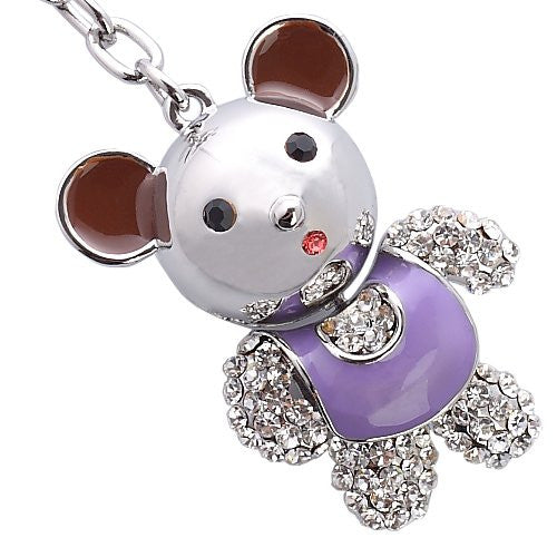 Pure Swarovski Crystal Teddy Bear key rings; Very High Quality Keyrings; 14K Gold & Silver Rhodium Plating Finishes; 4 Colour Options of Pink, Orange, Amethyst and Green.