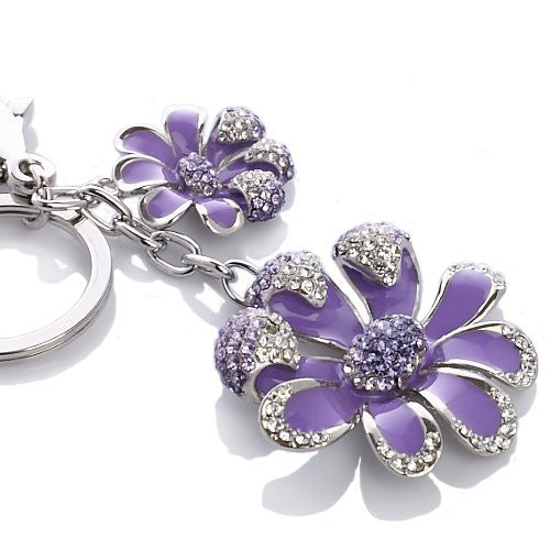 Pure Swarovski Crystal Floral Designed Key Ring with a Silver Rhodium or 14K Gold Plating Finish