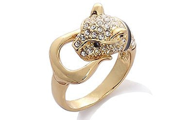 Designer Style Panther Ring inlaid with Clear Swarovski Crystals Elements, Luxury Haute Couture Jewellery reminiscent of French Designer CART***; in 14K Gold Plating.