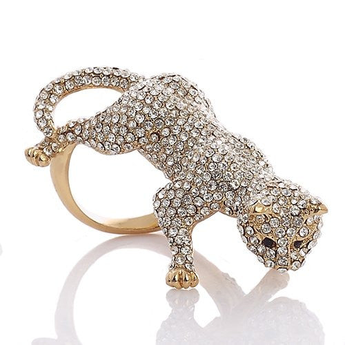 Large Stylish Panther Ring with Jet Black Swarovski Crystal Elements eyes,Luxury Haute Couture Jewellery reminiscent of French Designer CART***; It's a Really Stunning Statement Jewel