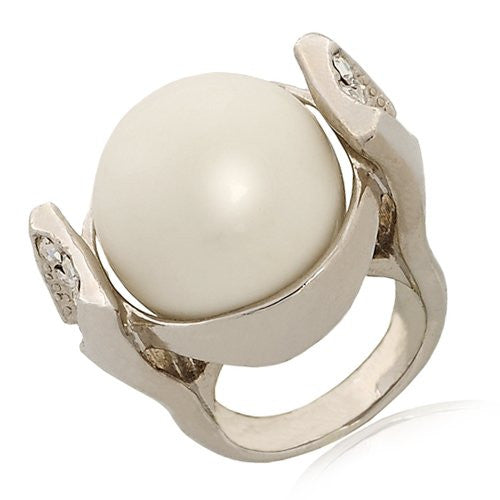 Polished White Marble Stone and CZ Crystal Cocktail Ring in 14K Gold, 14K Rose Gold or Silver Rhodium Platings