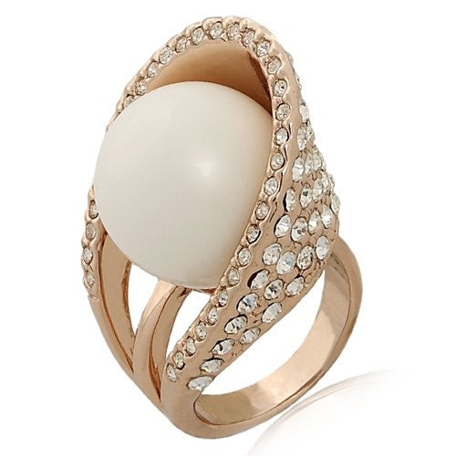 Polished White Marble Stone in CZ Crystal Arc Cocktail Ring on 14K Rose Gold Plating