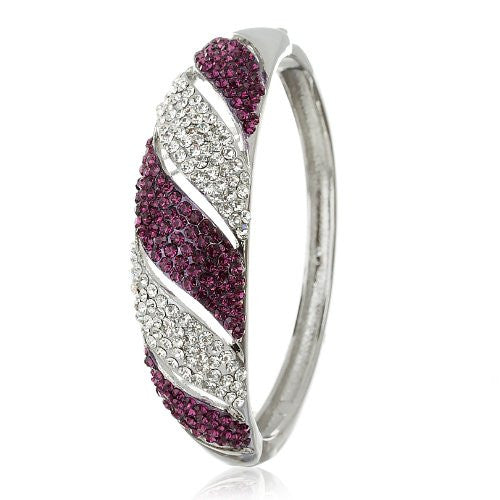 Stylish & Solid Cuff Bangle in Swarovski Crystals Elements. 6 Stunning Colour Options; Amethyst Purple, Fuchsia Pink or Blue, Topaz or Jet Black in14K Goldor Silver Rhodium Plating.