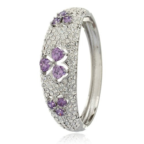 3 Leaf Hearts Clover Bangleshowered with Swarovski Crystals Elements in a StunningFiligree Traditional Celtic Design. Two Beautiful Colour, Multi on 14K Gold & Amethyst Purple on Silver Rhodium.